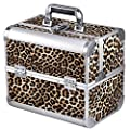 chinkyboo® Aluminium Large Space Storage Beauty Box Faux Leopard Print Cosmetics & Make Up Case