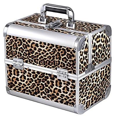 chinkyboo® Aluminium Large Space Storage Beauty Box Faux Leopard Print Cosmetics & Make Up Case