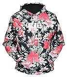 Pizoff Unisex Hip Hop Druck Sweatshirt Kapuzenpullover mit bunt 3D Blumen floral Digital Print, Y1760-89, L