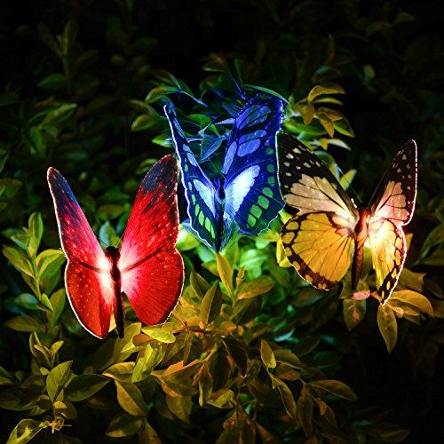 Qualife Solarleuchte Garten, Solarlampen Für Außen, Garten Dekoration, Garten Geschenke, Balkon Decor, Solarleuchten Garten, Led Gartenleuchten Solar, Led Solar Lichterkette Außen Schmetterling.