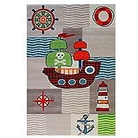 Sanat HeavyDuty Flat Pile Kids Rug Cream Beige Multi Pirate Ship Kids Nursery Room Wall Art Decal