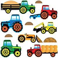 GET STICKING DÉCOR® TRACTORS & DIGGERS WALL STICKERS COLLECTION, ToonTractors Trac.4, Glossy Vinyl, Multi Color. (Medium)