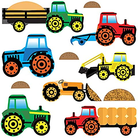 GET STICKING DÉCOR® Tracteurs & Diggers Stickers Muraux/ Autocollants Collection, ToonTractors Trac.4, Vinyle Amovible Brillant, Multicolore. (Medium)