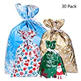 BESTOYARD 30PCS Christmas Drawstring Gift Bag Christmas Goody Bags Gift Wrapping Assorted Styles