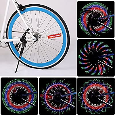 Fahrrad LED Speichenlicht,GEDKOA 32/42 Different Patterns Bike Rim Lights Spoke Decorations Light With Auto & Manual Dual Switch Ultra Bright 32 LED Bicycle Tire Accessories for MTB Kids Adults
