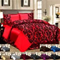 Luxury 4 Pcs Flock Linen Damask Bedding Set Duvet Cover Fitted Sheet Pillow Case - low-cost UK light store.