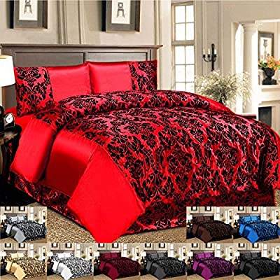 Luxury 4 Pcs Flock Linen Damask Bedding Set Duvet Cover Fitted Sheet Pillow Case produced by Imperial - quick delivery from UK.