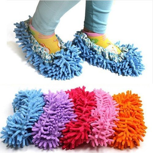ChineOn Cute Dust Mop Slippers Shoes Floor Cleaner Clean Easy Bathroom Office Kitchen(Purple) by ChineOn