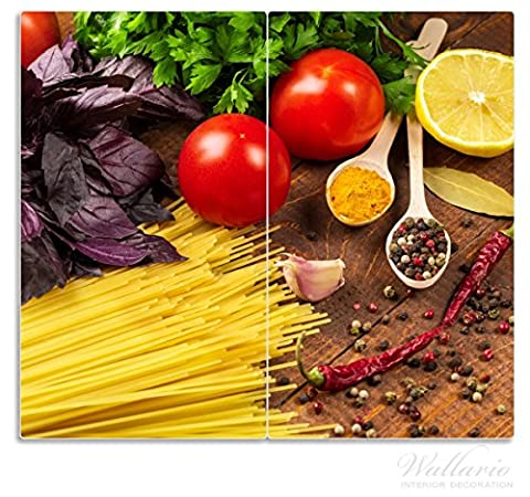 Wallario Herdabdeckplatte / Spritzschutz aus Glas, 2-teilig, 60x52cm, für Ceran- und Induktionsherde, Italienisches Menü mit Spaghetti, Tomaten, Basilikum und Gewürzen
