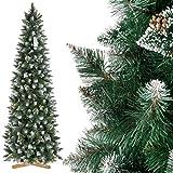 FairyTrees Albero di Natale Artificiale Slim, Pino innevato Bianco Naturale, Materiale PVC, Vere pigne, incl. Supporto in Legno, 220cm