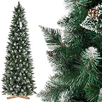 FairyTrees Árbol de Navidad Artificial Slim, Pino Natural Blanco nevado, PVC, Las verdaderas piñas, el Soporte de Madera, 220cm, FT09-220