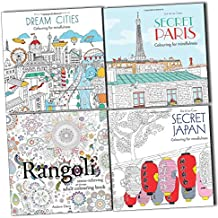Stress Relieving Art Therapy Adult Colouring For Mindfulness 4 Books Set (Secret Paris, Secret Japan, Dream Cities, Rangoli)
