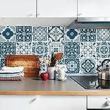 Sirface Blau Marokkanische Fliesen Aufkleber–Fliesenaufkleber Aufkleber Set für Küche und Badezimmer–24Stück–Verschiedene Größen erhältlich, Blau, 6x6 inches | 15x15 cm
