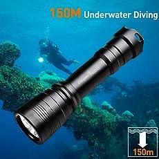 Odepro 1050 Lumen Taucherleuchten Eingestellt 150M Unterwassertauchen