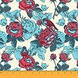 Soimoi Dekorative Blumenmuster Nähen Baumwoll Voile Meterware 58 Zoll breit-Creme