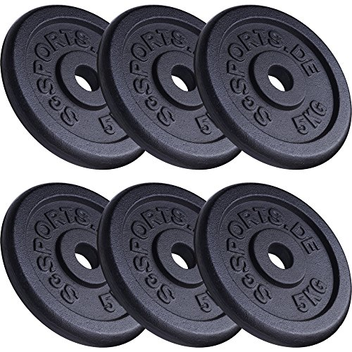 ScSPORTS 30 kg Hantelscheiben-Set 6 x 5 kg Gusseisen Gewichte 30/31 mm Bohrung