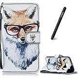 Slynmax Samsung Galaxy S6 Wallet Case Samsung Galaxy S6 Tasche Schutzhülle Flip Case Cover Brieftasche Tasche Stand Karteneinschub Magnetverschluß für Samsung Galaxy S6,Brille Fuchs