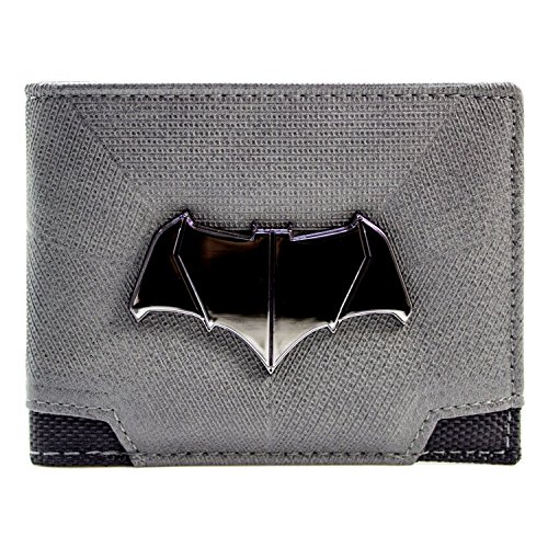 DC Comics Batman Superman Bat Emblem Grau Portemonnaie (Affleck Kostüm Batman)