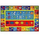 FLOWood Kinder Spiel Teppich Kinder Lernen Teppich mit ABC, Zahlen und Formen, Bildungsbereich Teppich für Schlafzimmer und Spielzimmer, sicher und Spaß Spielzeit Teppich für Kinder (100 x 150cm)