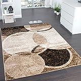 Alfombra De Diseño Para Sala De Estar Con Grabado De Círculos Marrón Beige, Grösse:190x280 cm