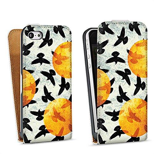 Apple iPhone 5 Housse étui coque protection Oiseaux Ailes Oiseau Sac Downflip blanc