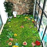 Fushoulu Benutzerdefinierte Mural Tapete Moderne Pastoralen Blumen Gras Rasen 3D Bodenfliese Aufkleber Balkon Wohnzimmer Pvc Selbstklebende Tapeten-350X250Cm