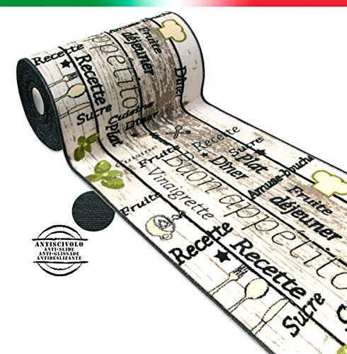 Alfombra de cocina - Línea Café - Modelo Tapiro - Se vende por metro - 57cm de ancho - Tejido plano bordado - Estilo retro - Antideslizante