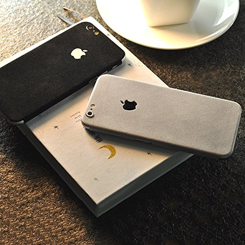 iphone 7 Sticker,uiano® Suede Velvet Ultra Thin Skin Wrap Aufkleber für iphone 7 [Black+Gray]