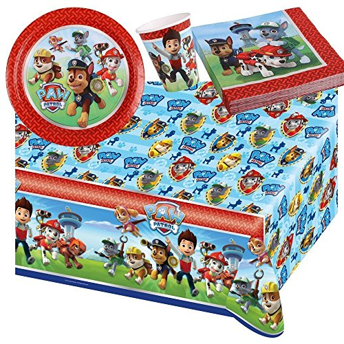 37 parts Ensemble de fête Paw Patrol - Serviettes De Table Plaque Tasses Nappe de table pour 8 Enfants