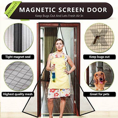 """Magnetic Fly Screen Door,Fits Door Openings Up to 34""""x82"""" Max (Black)"""