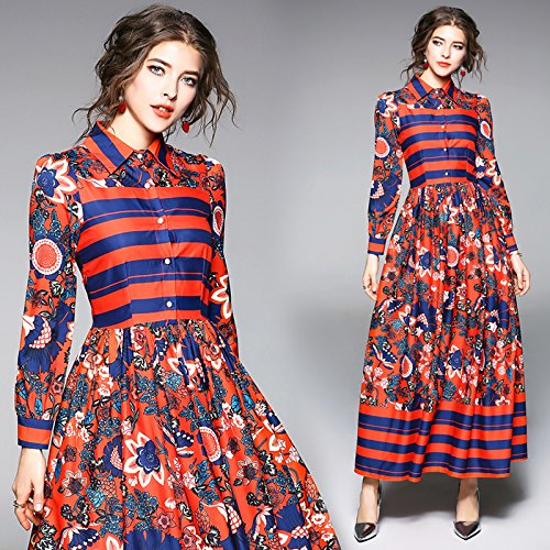 RENQINGLIN Vestidos De Mujeres Vestidos Con Resorte Retro Asumir El Picador Vestidos Impresos