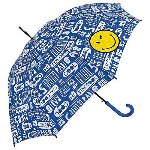 Smiley - Paraguas Largo - Automático - Azul - Street