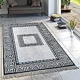 Paco Home Designer Teppich Wohnzimmer Teppiche Orient Muster Bedruckt Bordüre Schwarz Weiß, Grösse:140x200 cm Oval