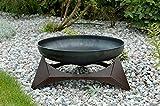 Design-Feuerschale ARKA, Lagerfeuer mit kupferfarbig pulverbeschichtetem Unterbau, Größe XXL, Maße: Ø 63 cm x Höhe 30,6 cm