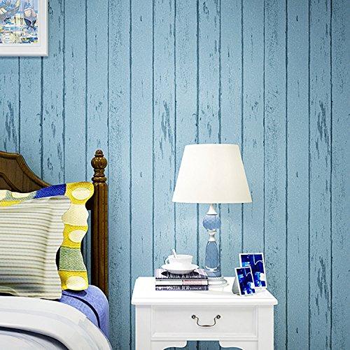 Sea Green-stripe (HY-The Mediterranean-Style Wallpaper Green Vertical Stripes Retro Nostalgic Wood Bedroom Living Room Children's Room Non-Woven Wallpaper, Blue sea)
