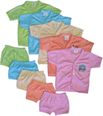 Cool Baby 5 Shirts and Matching Shorts, 0 to 6months(COOL-004, Multicolour)