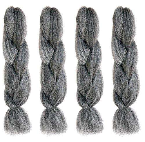 American dream trecce per capelli in fibra di kanekalon di qualit&agrave, per extension, dreadlock e acconciature creative all'avanguardia, mix naturale di nero e argento, confezione da 4