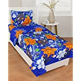 BSB Trendz Plain White 144 TC Poly Cotton Use 1 Single Bedsheet With 1 Pillow Cover Premium Look