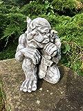Gartenfigur Gargoyle Figur Steinfigur für Garten Deko Teich Fantasiefigur