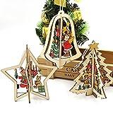 3Christbaumkugeln Weihnachtsschmuck Baumschmuck Holz Glocke Stern Baum Weihnachten