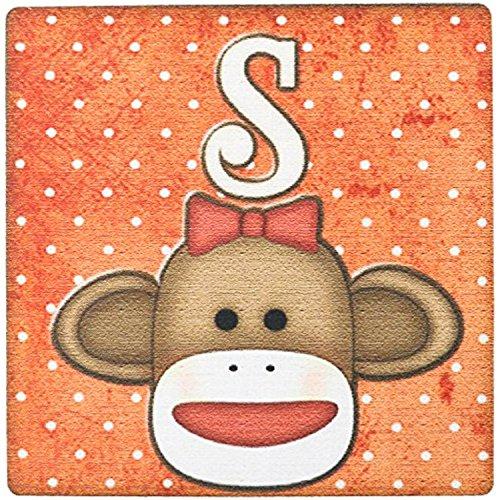 Mauspad, niedliche Sock Monkey Girl Initial Letter S ()