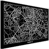 Feeby Impresión en Lienzo Madrid Arte Decorativo Mapa de la Ciudad Negro 90x60 cm