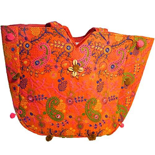 Indische Baumwolltasche bunt orange Paisley Stickereien Spiegel Tasche Accessoire (Stoff-handtaschen Orange)