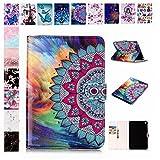 E-Mandala Apple iPad 2018/2017 / Air/Air 2 Hülle Leder Flip Case Tablet PC Tasche mit Kartenfach Ledertasche Lederhülle - Mandala Blumen