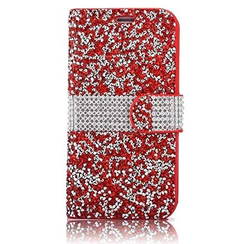 Vandot Bling Diamant Crystal Strass Coque pour Apple iphone 6 6S 4.7 Pouces Coque Etui Housse avec PU Cuir Pochette Portefeuille Case Cover Téléphone Protection Protecteurs D'écran Folio Flip Hull Coq SM-Rouge