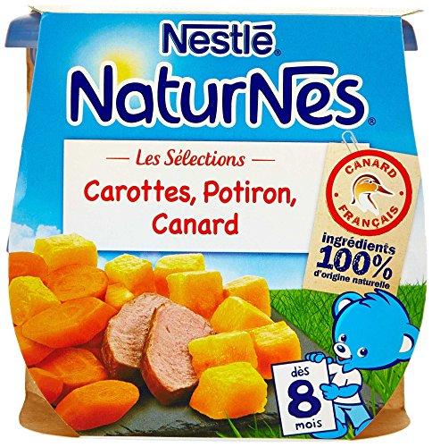 Nestlé Bébé Naturnes les Sélections Carottes/Potiron/Canard Plat Complet dès 8 Mois 2 x 200 g - Lot de 4