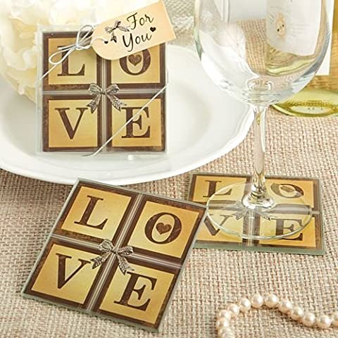 Set of 6 Vintage Window Love Themed Glass Coasters - (2 Pack) {638054041818}