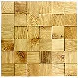 wodewa Wandverkleidung Holz 3D Optik I Eiche Natur I 30x30cm Netz Nachhaltige EchtHolz Wandpaneele I Moderne Wanddekoration Wohnzimmer Küche