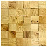 Holz-Wandverkleidung 3D Optik I Eiche Natur I 30x30cm Netz nachhaltige EchtHolz Wand-paneele I Moderne Wanddekoration Wohnzimmer, Küche