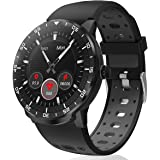 Smartwatch Donna Uomo, HopoFit HF06 Orologio Fitness Tracker Circolare Full Touch Impermeabile Smart Watch con Cardiofrequenz